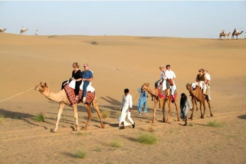 camel safari in desert of Rajasthan