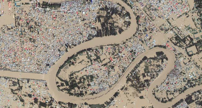 Ariel view of Jhelum river and Srinagar city during flood in Kashmir