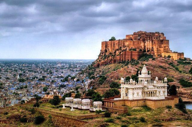 Mehrangarh fort towers over Jodhpur's blue city in Rajasthan