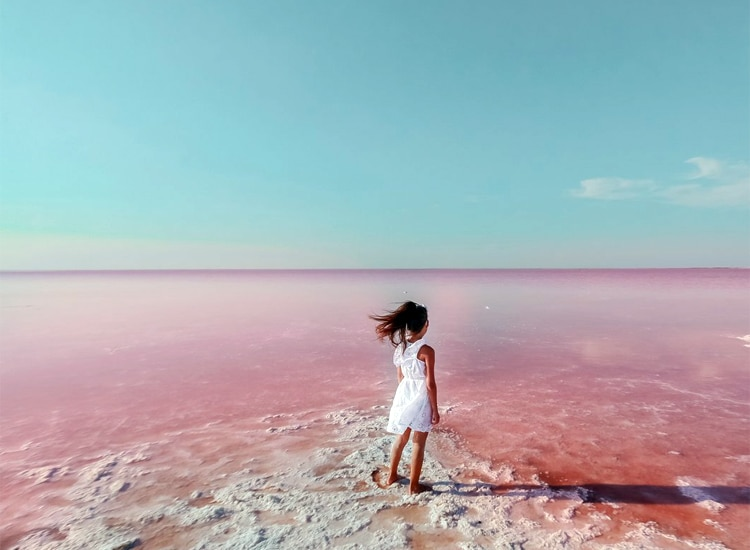 The Pink Lake Hillier in Australia